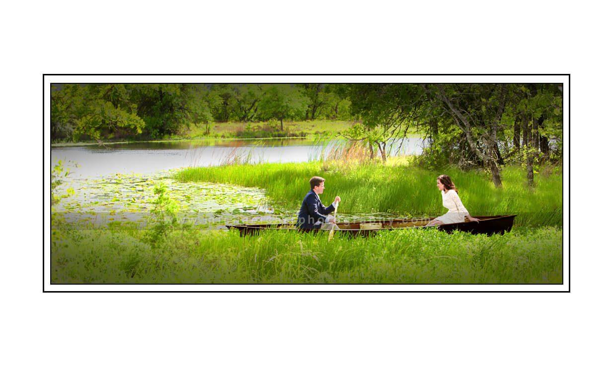 Row Boat Lake Engagement Portrait Photography